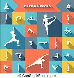 zwanzig, poses., joga, drei
