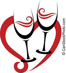 Zwei abstrakte Gläser Rotwein & Herz.