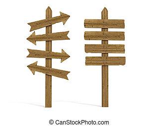 Zwei alte Holzzeichen