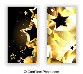 Zwei Banner mit schwarzen Sternen