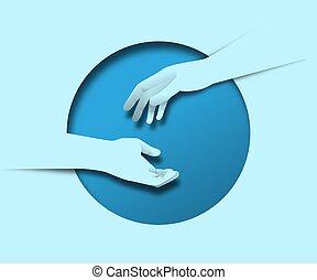 zwei, begriff, zusammen, helfende hand, papier, freund, schnitt