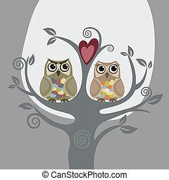 Zwei Eulen und lieben Baum
