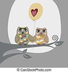 Zwei Eulen und Liebesballon