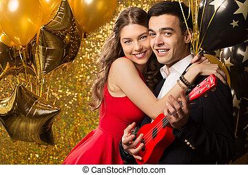 zwei, frau, romantisches, maenner, birthday., oder, spaß, holiday., zusammen., haben, jahr, datum, neu , m�dchen, partei., kerl, feiern