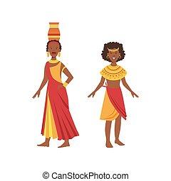 Zwei Frauen in gelben und roten Kleidern aus einem afrikanischen Stamm.