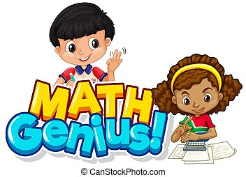 zwei, genie, mathe, design, kinder, schriftart, wort