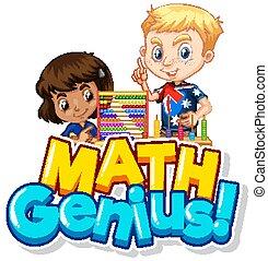 zwei, genie, mathe, design, kinder, zählen, schriftart