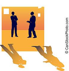 Zwei Geschäftssilhouette von Leuten, die über Jobverlust reden.