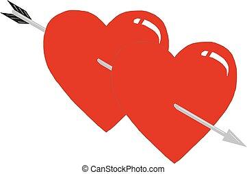 Zwei Herzen durchbohrt von einem Pfeil, Herzen und Pfeil, Liebe zwischen einem Mann und einer Frau Valentinstag Vector Illustration.