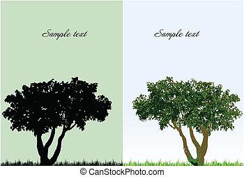 Zwei Hintergründe mit Baum mit Gras. Vector