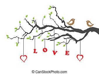 Zwei Liebesvögel und Liebesbaum