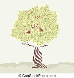 Zwei Liebesvögel und stilisierter Baum