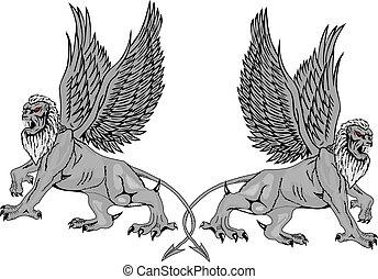 Zwei mythologische Greifen.Vector