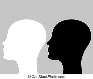 Zwei Silhouettes, menschlicher Kopf