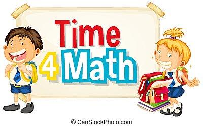 zwei, studenten, glücklich, zeit, 4, design, mathe, schriftart, wort