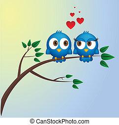 Zwei verliebte Vögel