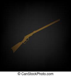 zwiebel, licht, ikone, orange, jagen, gun., klein, silhouette, illustration., gitter, darkness., gewehr