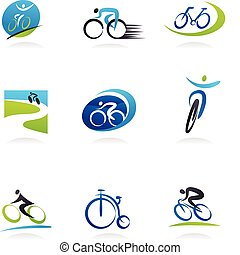 Zykling und Fahrrad-Ikonen